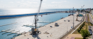 Construction of a cargo district at the mouth of river Mzymta in Sochi
